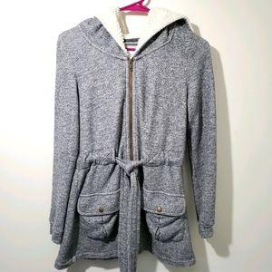 Saturday Sunday Grey Hooded Sweatshirt Jacket M